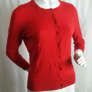 Halogen Red 3/4 Slv Button Up Cardigan Sweater M